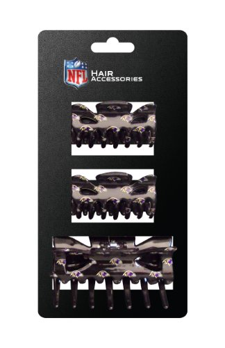 NFL Baltimore Ravens Hair Accessory Plastic Hair Clip (3-Piece)