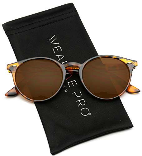 WearMe Pro Classic Small Round Retro Sunglasses, Tortoise Frame / Mirror Orange/Red ()