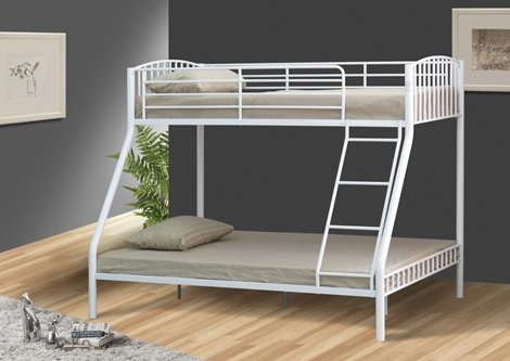 Comfy Living White 3ft 4ft6 Triple Metal Kids Bunk Bed Without Mattresses