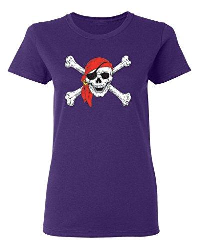 P&B Pirate Skull Crossbones Women's T-Shirt, XL, Purple -