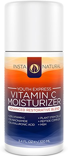 Vitamin C Moisturizer Cream for Face Skin & Body - With 20% Vitamin C Hyaluronic Acid Niacinamide & Organic Jojoba Oil - Anti Aging Lotion - For Wrinkles Fine Lines & Spots - InstaNatural - 3.4 OZ