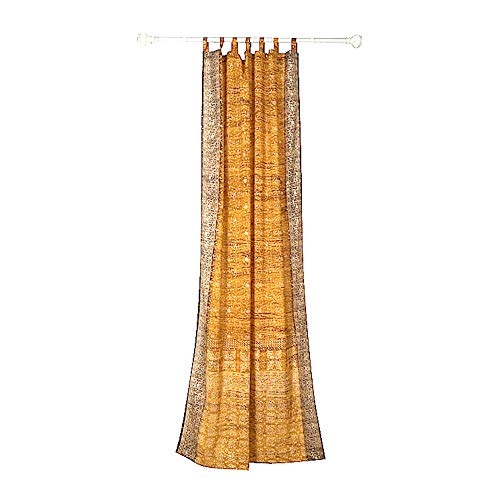 GOLD YELLOW CURTAIN Window Treatment Draperies Boho Curtains over 20 colors Sari panel 108 96 84 inch for bedroom living room dining room kids yoga studio canopy tent W GIFT bag Honey Amber earthtones