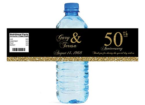 100 50th Anniversary Black with Gold Party Water Bottle Labels -