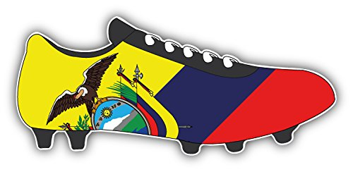 novland Ecuador Flag Soccer Cleats Car Bumper Sticker Decal 6'' x 3''