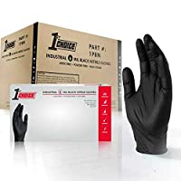 1st Choice Industrial 6 Mil Black Nitrile Gloves - Latex Free, Powder Free, Textured, Large, Case of 1000