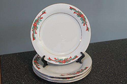 Poinsettia & Ribbon Fairfield by Tienshan SALAD Plates Set of 4