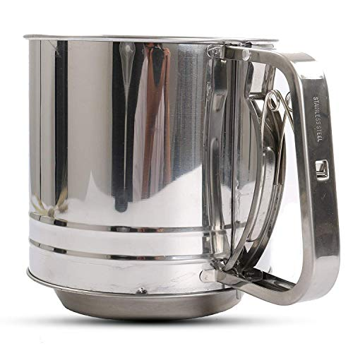 NPYPQ Flour Sifter, Stainless Steel Flour Sieve Sifters Mesh Cup - One Hand Crank - Very Fine - - Cup Flour 1 Sifter