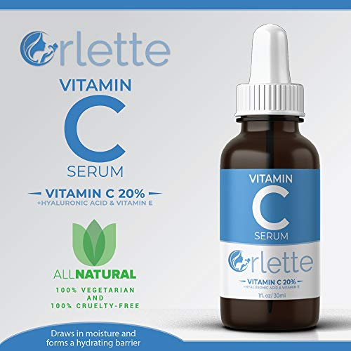 41%2B0iHeLT0L - Orlette Vitamin C Serum For Face - With Hyaluronic Acid & Vit E - Skin Treatment Formula - Natural Anti Aging Moisturizer, Facial Acne Removal - Wrinkles, Dark Circles, Scar, Pore Minimizer, Reducer