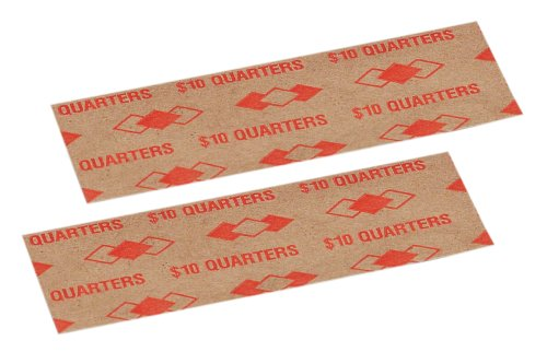PM Company $10/SecurIT Kraft Flat Quarter Coin Wrappers, 4 Inches Length, Brown/Orange, 16,000 Carton (53025) by PM Company