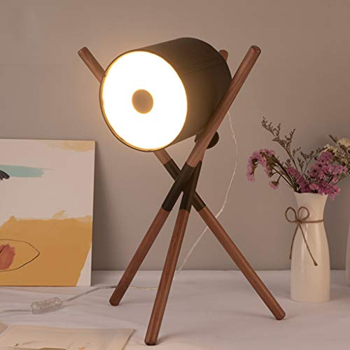 RONG LIGHT New Creative Table Lamp Tripod Bedside Reading Lamp Retro Desk Lamp Lighting Iron Leather Lampshade Office/Study Lamp E27,Leather/Wood,3453cm ()