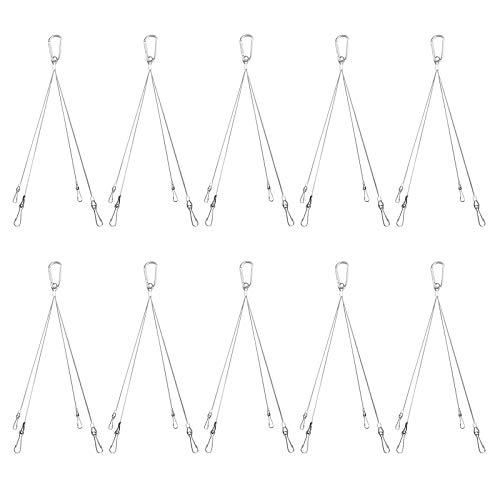 (10 Pack Plant Grow Light Rope Hanger 0.98ft Per Pack Max. Load 20KG, 201 Stainless Steel Rope, Hanging Basket Plant Hanger Holders for Indoor Outdoor Plants, LED Grow Light Aquarium Tank Lamp)