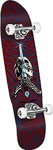 "Powell-Peralta Skull & Sword 06 Shape 186 Mini Complete Skateboard, 8"" x 30.0"", Red/Blue"