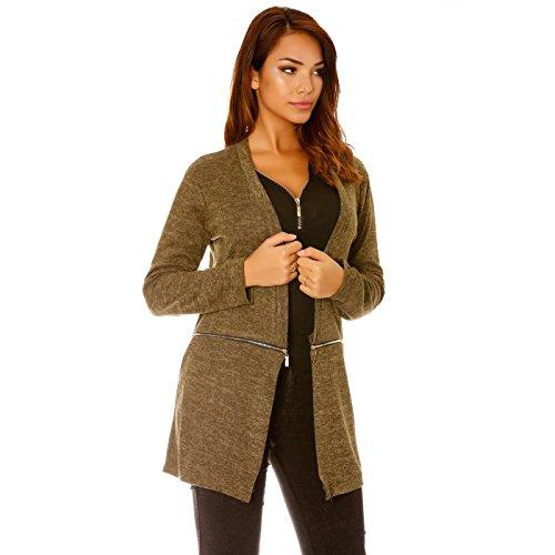 Miss Wear Line - Gilet chiné kaki à zip fantaisie, gilet automne/ hiver