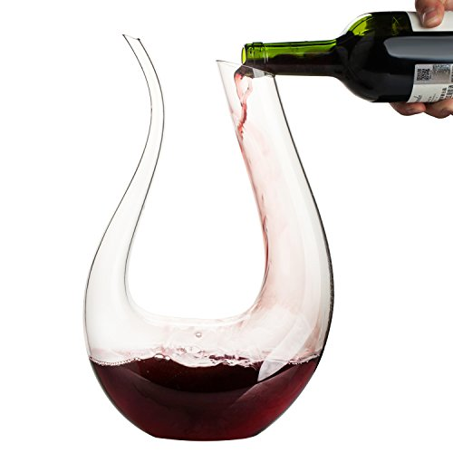 Wine Decanter,WBSEos 1.5L U Shape Classic Wine Carafe,100% Hand Blown Lead-free Crystal Glass-Wine ()
