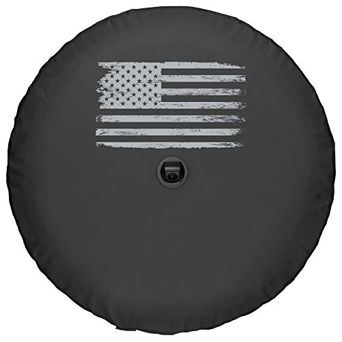 """Boomerang - Soft JL Tire Cover for Jeep Wrangler JL (with Back-up Camera) - Sahara (2018-2020) - 32"""" (255/70R18) - Distressed American Flag"""