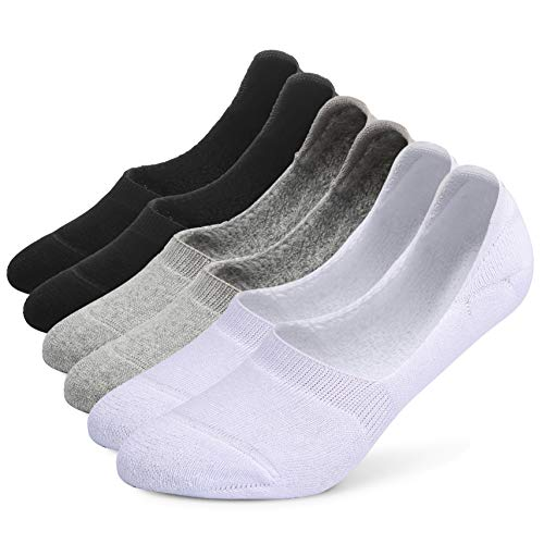 Leotruny 6 Pairs Unisex Thick Cushion Athletic Cotton Non Slip Low Cut Falt Liner No Show Socks (Women shoe size:5-8.5, C01-Black/White/Light Gray)