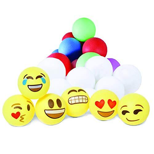 Totem World 100 Assorted Beer Pong Balls - 6 Free Emoji Ping-Pong Balls - Washable Plastic