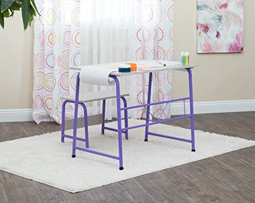 Awesome Kids Craft Table With Bench In Purple Spatter Gray 55127 Gmtry Best Dining Table And Chair Ideas Images Gmtryco