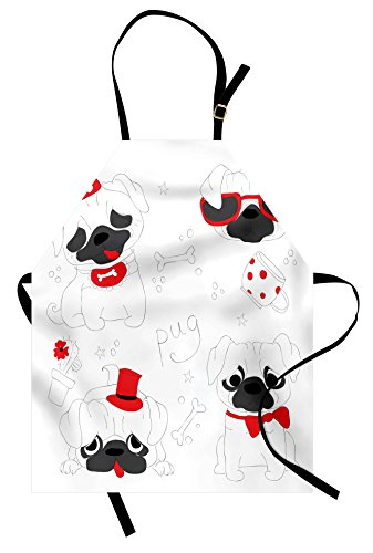 Ambesonne Pug Apron, Dogs in Various States Sad Happy Cool Excited Dog Bone Dotted Mug Caricature Style, Unisex Kitchen Bib Apron with Adjustable Neck for Cooking Baking Gardening, Black Red (Sad Dogs In Costumes)
