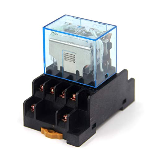 Woljay LY4NJ AC 220V Coil 4PDT 14 Terminals Indicator Light Electromagnetic Power Relay w Base ()
