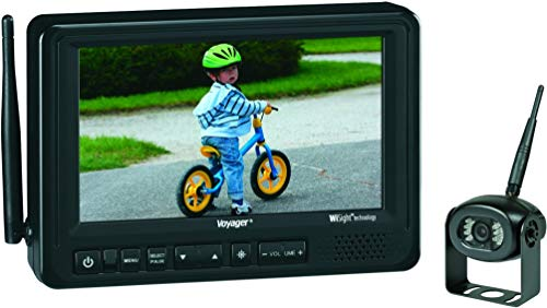 Voyager WVOS713 7-Inch Digital Wireless Observation System, 3 Camera Input (1 Wireless, 2 Wired), PAL/NTSC Compatible, Backlit Control Buttons, Built-in Audio Speaker, 12 Volt DC Power