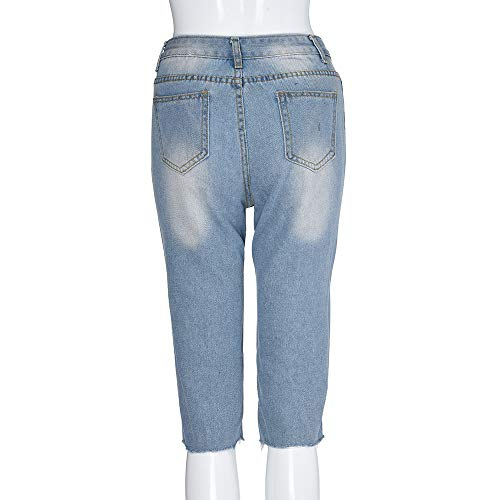 Gambali Buco Casuale Pantaloncini Denim jeans Moda Lqqstore Pantaloni Strappati Blu Strappato Jeans donna Quarto Donna Cinque Elastico wqdgvqXR