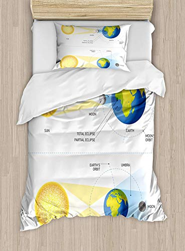 Big buy store Educational Duvet Cover, Solar and Lunar Eclipse Planet Earth Sun Moon Orbit Astronomy Science, Decorative 4 Piece Bedding Set with 2 Pillow Sham, Blue Green Mustard(Twin) by Big buy store