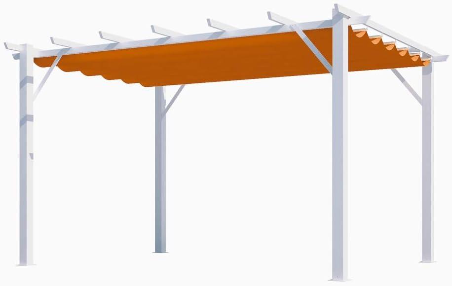 HABRITA - Pérgola 100% Aluminio Color óxido 12 m2 – Estructura Blanca Perla: Amazon.es: Jardín