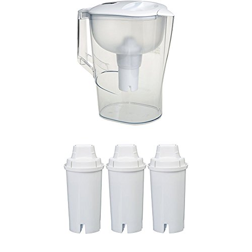 AmazonBasics 10-Cup Water Pitcher with Filter and AmazonBasics Replacement Water Filters for AmazonBasics & Brita Pitchers - 3-Pack by AmazonBasics