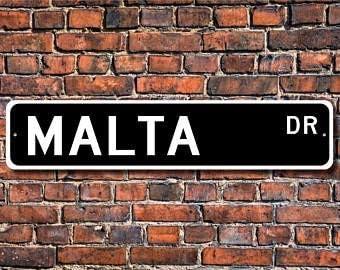 Plaque Souvenir de Vacances Malta Cadeau VinMea Malta 4 X 18 Malte Traveler Malta Signe Custom Street Sign Malta Visitor Malte Native