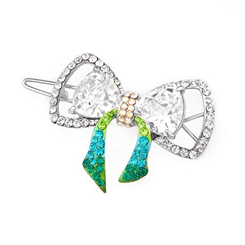 Glamorousky Charming Ribbon Barrette with Silver and Green Austrian Element Crystals (5107)