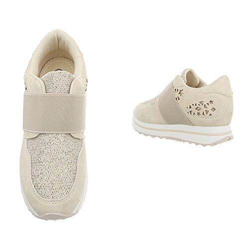 Plat Chaussures Baskets Sneakers Ital Espadrilles Low Beige Mode design Fan5867 Femme PwqX11xO