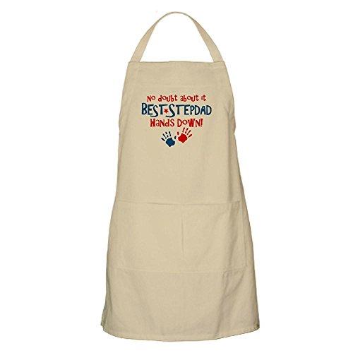 CafePress Hands Down Best Stepdad BBQ Apron Kitchen Apron with Pockets, Grilling Apron, Baking Apron