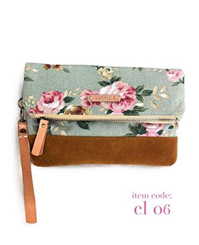 Borann -Bridesmaid Gift-Bridesmaid clutch Women Floral Monogram Canvas Clutch Handbag Purse Bridesmaid Gift (Handbag Suede Monogram)