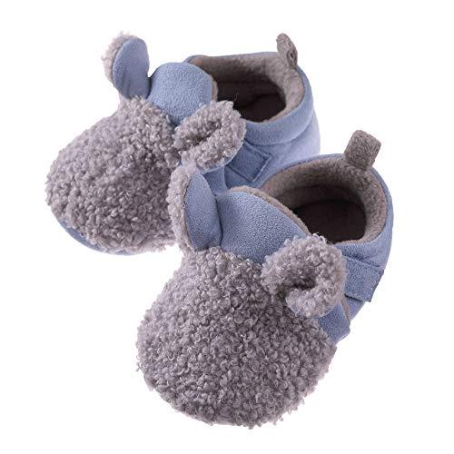 MSMETRO Baby Boys Girls Cute Cartoon Warm Slippers Shoes Soft Anti-Slip Winter Home First Walker Shoes 0-18 Months (12-18 Months, Blue)