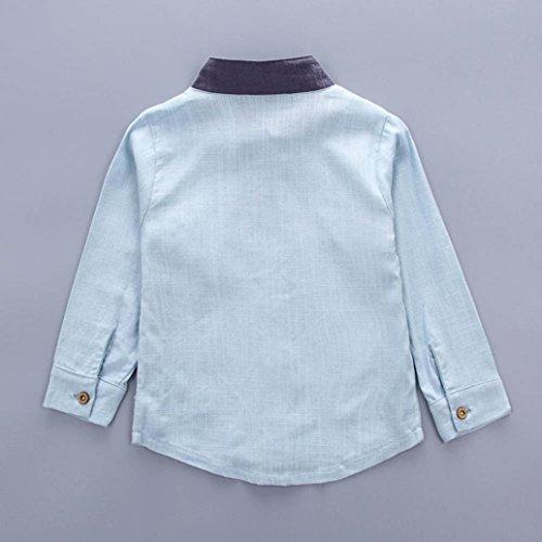 Omiky® 2pcs Kleinkind Baby Jungen scherzt Hemd Tops + Long Hosen Kleider Gentleman Outfits Set Hellblau