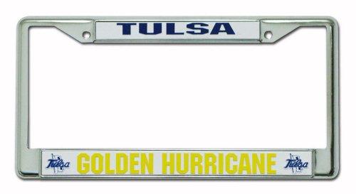 Rico Industries NCAA Tulsa Golden Hurricanes Standard Chrome License Plate -