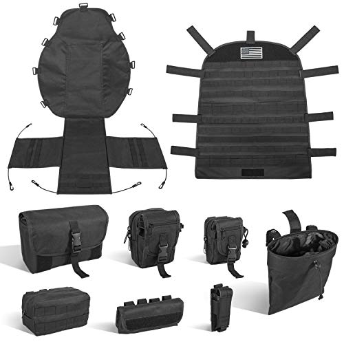 Universal Front Seat Cover Case Storage Bags Muti-Compartments Holder Pockets Molle Pouches Stuff Organizer for 1956-2019 Jeep Wrangler CJ YJ LJ JK JL Ford Toyota Jeep Cherokee Tacoma 4runner and more