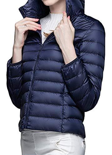 Trapuntata Especial Monocromo Invernali Estilo Fit Packable Fashion Navy Lunga Corto Giacca Eleganti Donna Manica Piumino Cappotto Incappucciato Slim Piumini Autunno wPa6P7q8