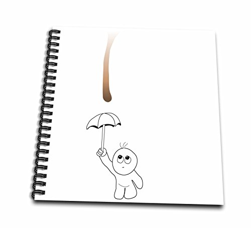 Chocolate 12x12 Album (3dRose db_57508_2 Cute Drip Guy Avoiding Coffee Or Chocolate Drop with Umbrella Fun Fake Stain Funny Unique Gift Memory Book, 12 by 12-Inch)