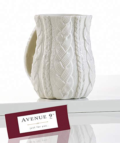 Avenue 9 White Cable-Knit Right or Left-Handed Hand Warmer Mug (12 oz) by Giftcraft (Left-Handed) 470158 (Warmer Hand Clearance Mugs)