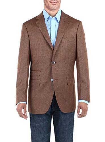 DTI BB Signature Men's Dress Suit Jacket Two Button Birdseye Modern Fit Blazer (40 Long US / 50L EU, Amber Brown) ()