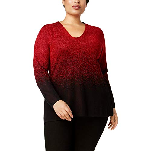 Sweater Nylon Metallic (NY Collection Womens Plus Metallic Ombre Pullover Sweater Red 1X)