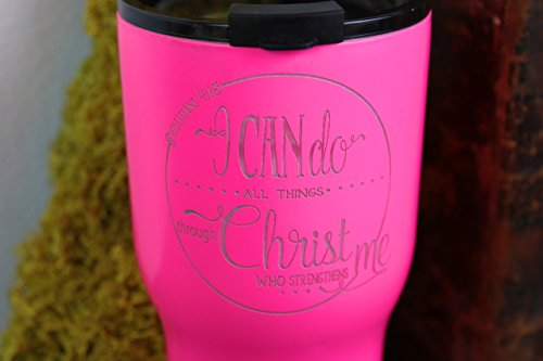 Pink RTIC Tumbler/ I Can Do All Things/ Engraved Tumbler/ Scripture Tumbler/ Personalized RTIC/ Teacher Gift/ Insulated Cup/ Stainless Steel Tumbler/ Travel Cup