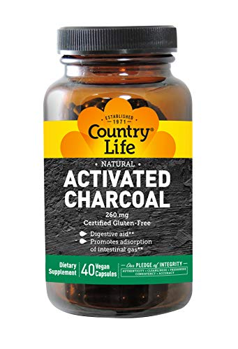 Country Life - Natural Activated Charcoal, 260 mg - 40 Gluten Free Capsules