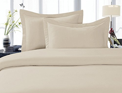Solid Tan 300 Thread Count Full/Queen Size 3PC Duvet Cover Set 100 % Cotton with button enclosure
