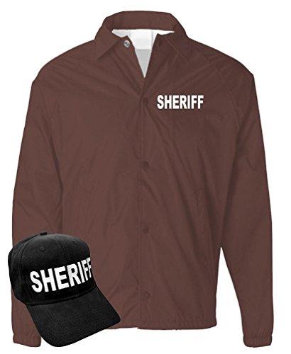 Law Enforcement Coaches (SHERIFF - law enforcement deputy officer - COACH JACKET + HAT COMBO, XL, Brown)