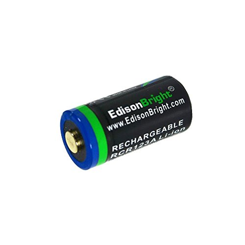 EdisonBright EBR65 RCR123A 650mAh 3.7v rechargeable protected li-ion type 16340 battery