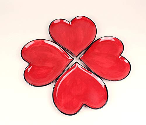 Happy Hearts Red Plates Set of -