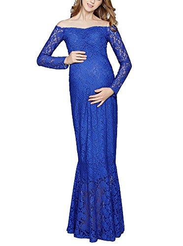Hellomiko Abito premaman elegante - Abito sexy con stampa pizzo Blu